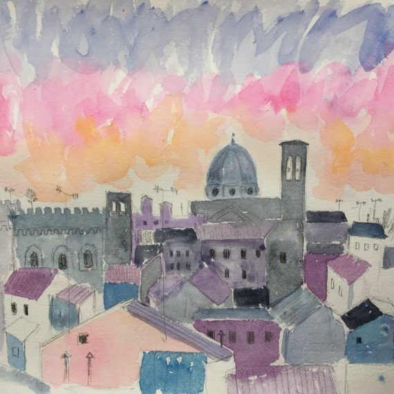 Sunset over Florence 29 x 33 cm