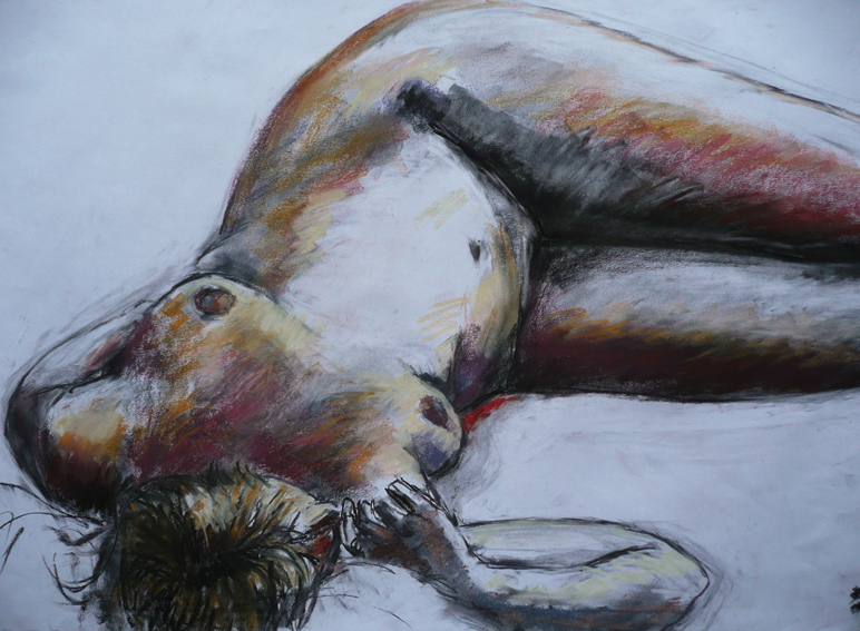 Reclining Nude with Red 59 x 84 cm