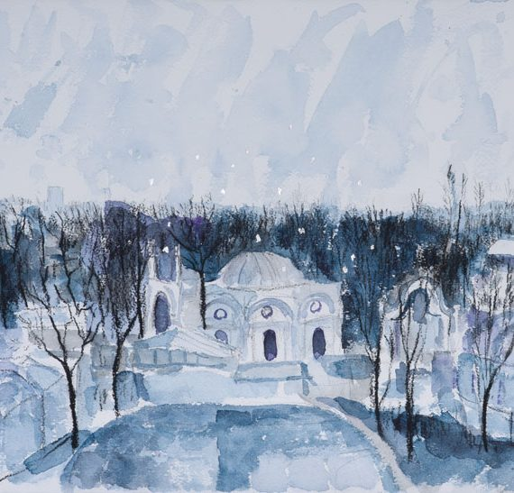 Berlin Zoo in the Snow 28 x 37 cm